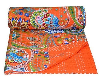 "Paisley Print  Cotton Kantha Quilt Bedspread Floral Print Kantha Blanket, Bed Cover, Bedspread, Bohemian Bedding 90*108"""