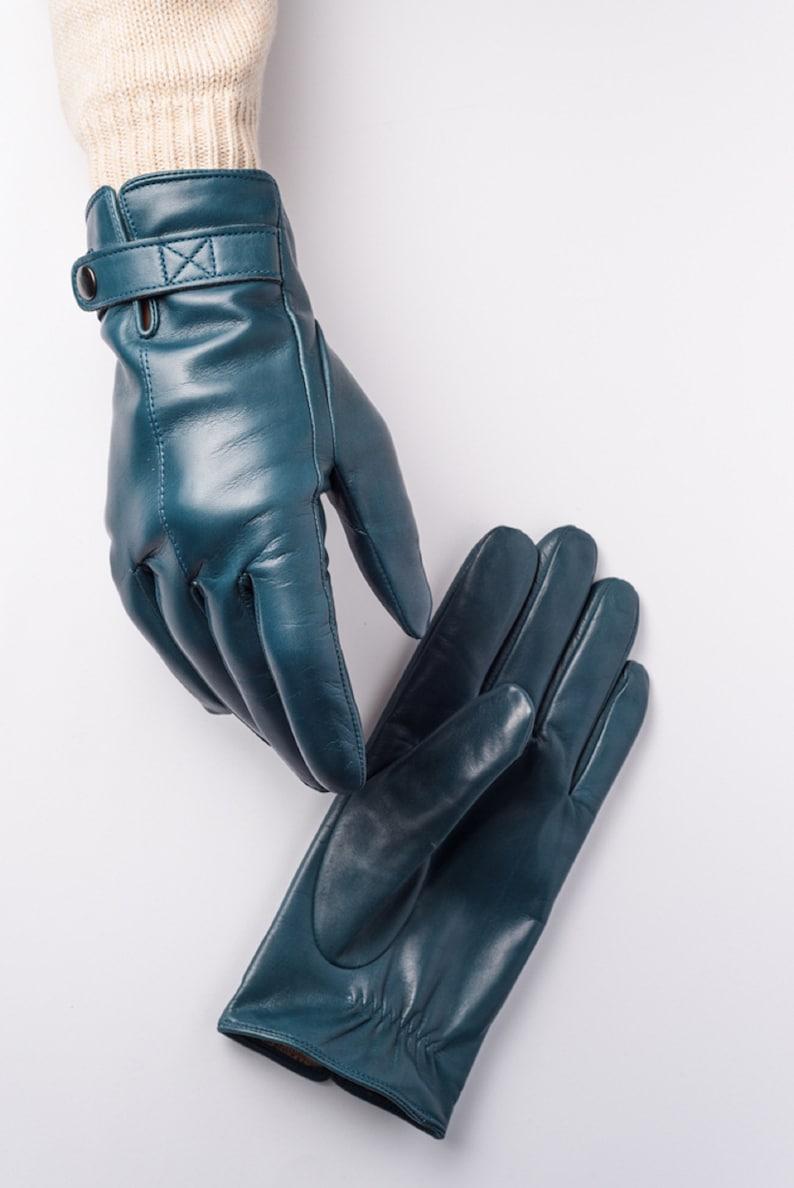 a27d610d19719 Mens leather gloves winter lined blue Warm gloves for men | Etsy