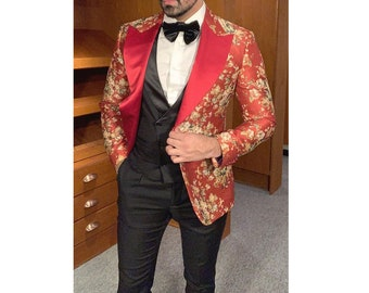Custom made Mens smoking jacket With loafers slippers Initial monogram Dinner Coat  Party Wear
