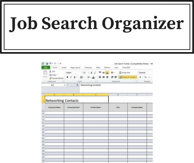 job search organizer keep track of contacts applications etsy