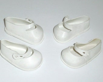 """Vintage White Vinyl #2 Mary Jane Doll Shoes (Two Pairs) 2 1/2"""" For 16""""-18"""" Dolls"""