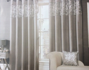 Beautiful Paris Sequin On A Silver Header Grey Finish Embellished Lined Curtains Eyelet Top