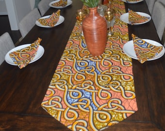 African Print Table Runner U0026 Napkins