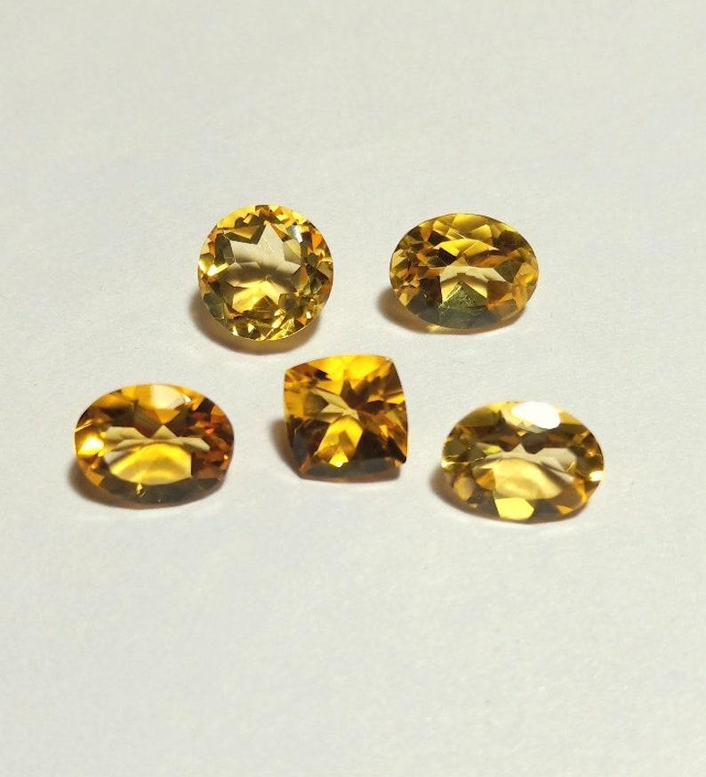 8.2 Cts Natural Citrine Quartz Faceted Gemstone 5 pcs Lot Loose Faceted Gemstone Beautiful Citrine Quartz Gemstone For jewelry Gemstone .