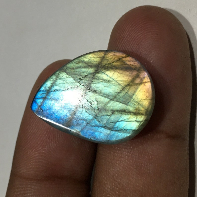 Amazing Multi Purple Fire Labradorite Gemstone Natural Cabochon Gemstone For Wire Wrapping Jewelrymaking Pear Shape 24x18x7 mm 24 Cts J#1-41