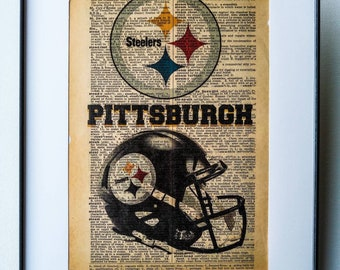 9020658b0c92c8 NFL Football sports Art Pittsburgh Steelers print on vintage Dictionary  page on the word