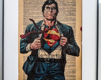 6c91a897111 DC Comics Clark Kent The Daily Planet SUPERMAN Art Print on Real vintage  Dictionary page on the letter
