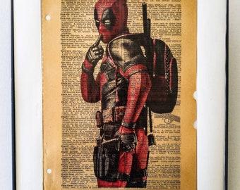 "Deadpool printed on vintage Dictionary page on the word ""FLIRT"""