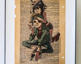"Gorillaz print on vintage Dictionary page on the word ""Monkey"""