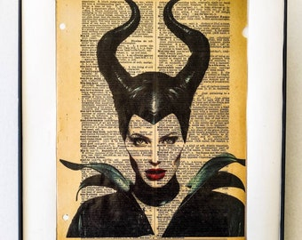 "Maleficent printed on vintage Dictionary page on the word ""MALEFICENT"""