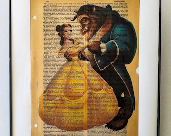 "Beauty and the Beast print on vintage Dictionary page on the word ""Enchantment"""