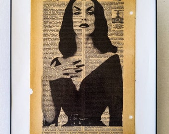 """Vampira Print on vintage Dictionary page on the word """"Vampire"""""""