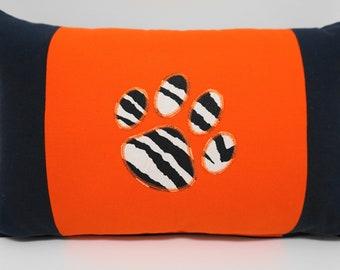 Orange and Navy Pillow, Auburn, Tiger Paw Pillow, Gameday Decor