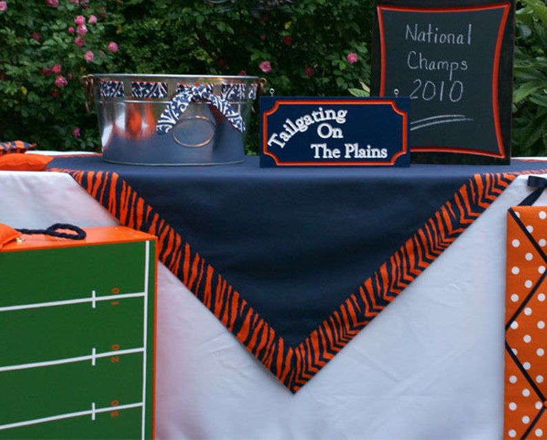 52 inch Square Navy and Orange Tailgating Tablecloth Gameday image 0