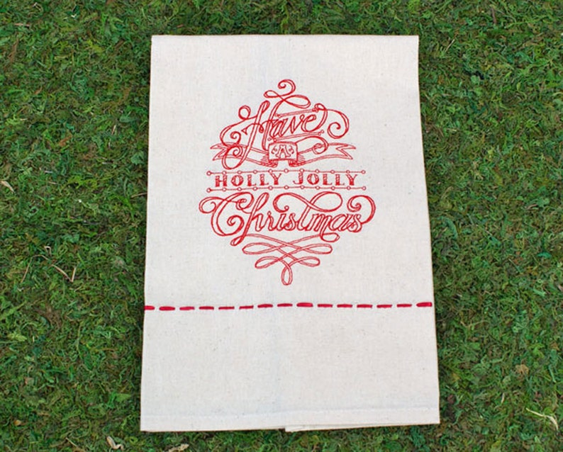 Redwork Holly Jolly Embroidery Christmas Tea Towel image 0