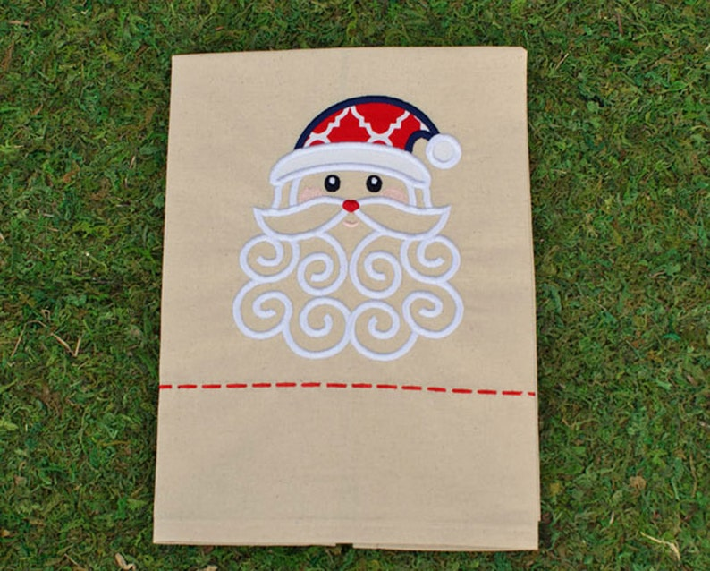 Red / Navy Santa Embroidery Tea Towel Ole Miss Santa image 0