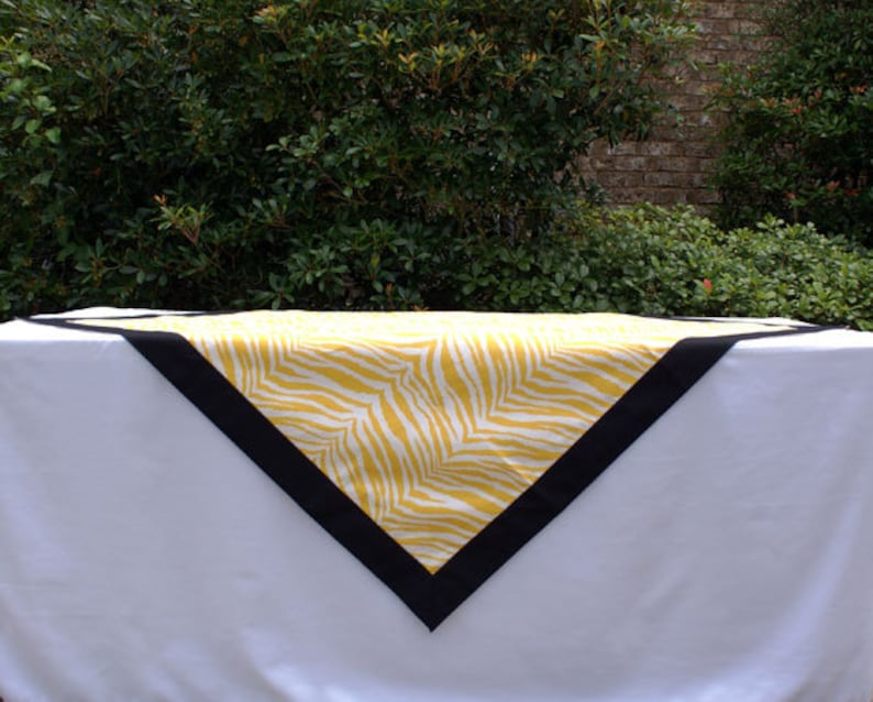 Yellow Tiger Stripe Tailgating Tablecloth Gameday tablecloth image 0