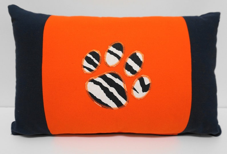 Orange and Navy Pillow Auburn Tiger Paw Pillow Gameday image 0
