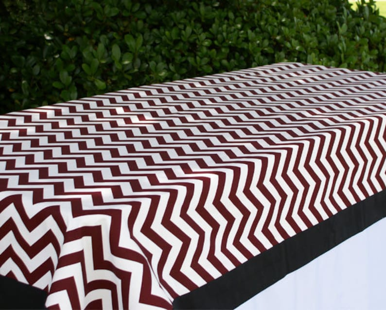 Maroon Chevron Tailgating Tablecloth Gameday tablecloth image 0