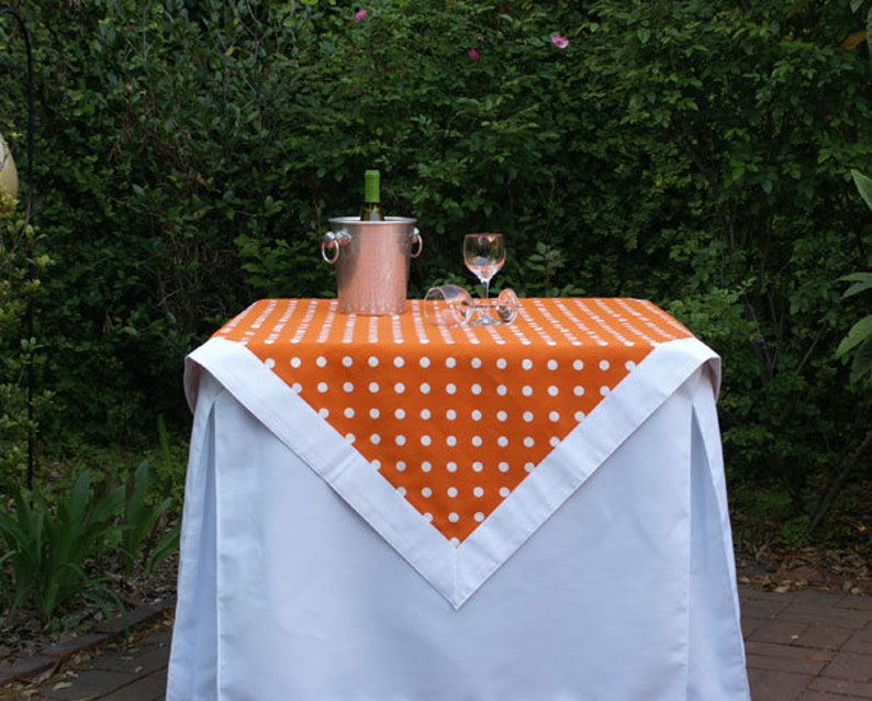 Orange Polka Dot Tailgating Tablecloth Gameday tablecloth image 0