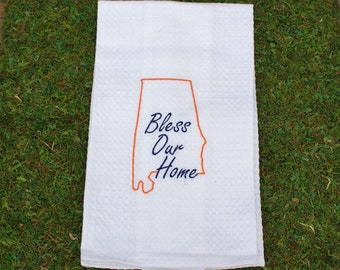Orange / Blue State of Alabama Bless Our Home Embroidery Tea Towel, Auburn Embroidery Tea Towel