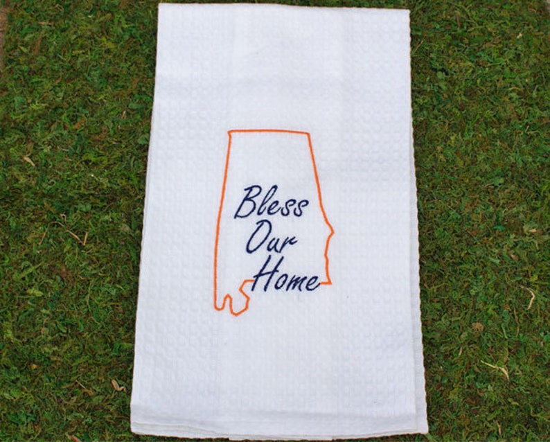 Orange / Blue State of Alabama Bless Our Home Embroidery Tea image 0