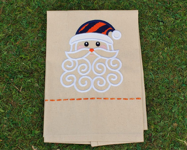 Orange / Blue Santa Embroidery Tea Towel Auburn Santa image 0