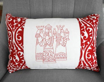Redwork Three Kings Pillow and Form