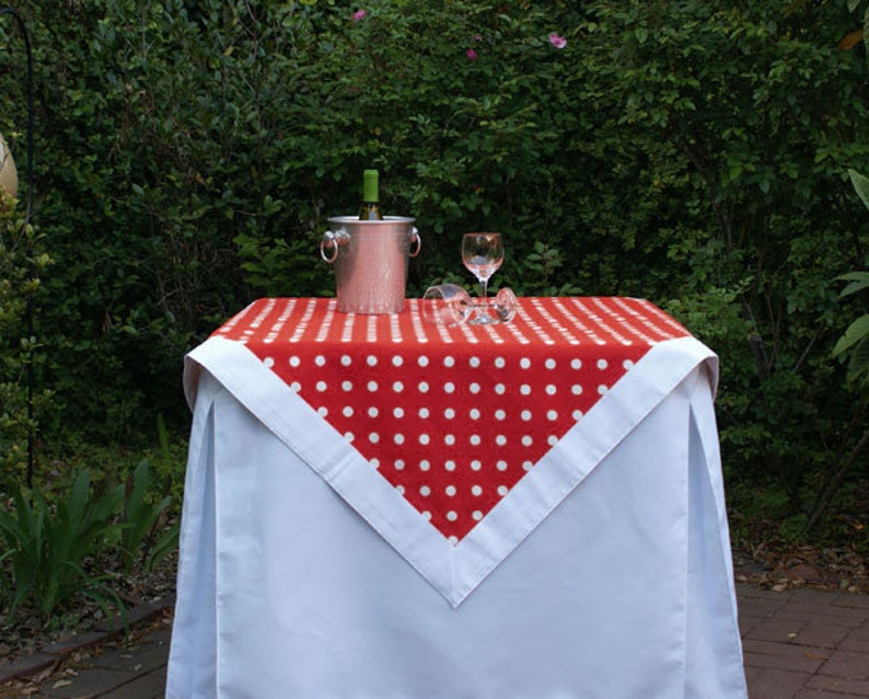 Red Polka Dot Tailgating Tablecloth Gameday tablecloth image 0