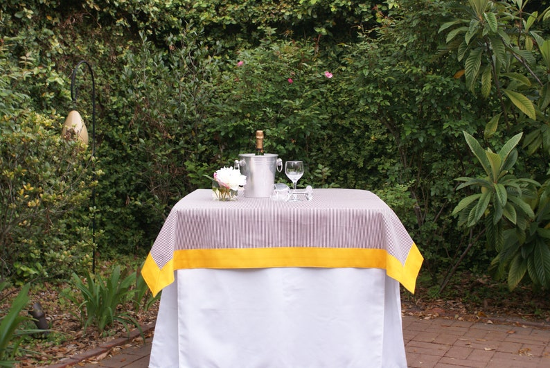 52 in. Square Maroon and White Tailgating Tablecloth with Gold image 0
