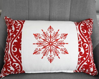 Redwork Snowflake Pillow and Form