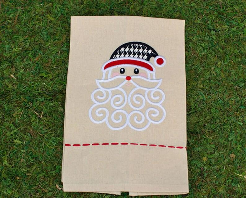 Houndstooth Santa Tea Towel Alabama Santa Tea Towel image 0