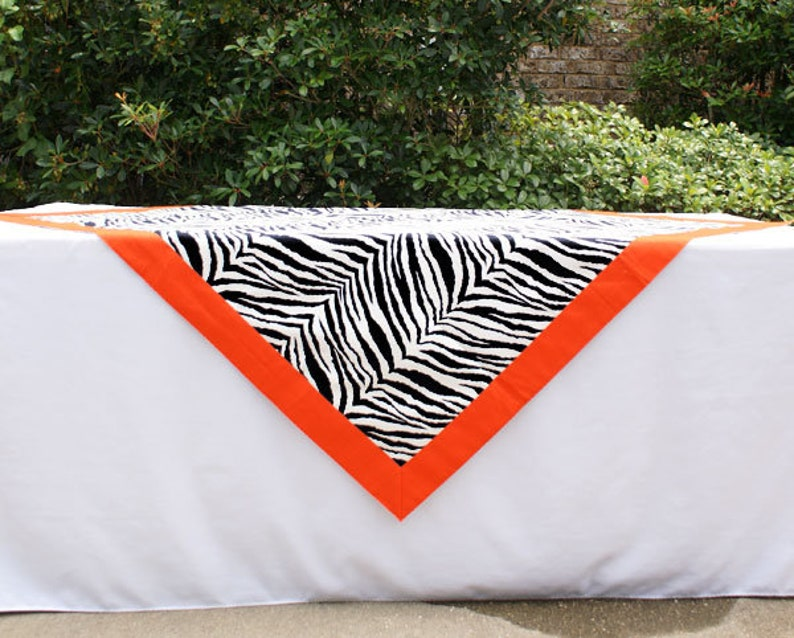 Black Tiger Stripe Tailgating Tablecloth Gameday tablecloth image 0