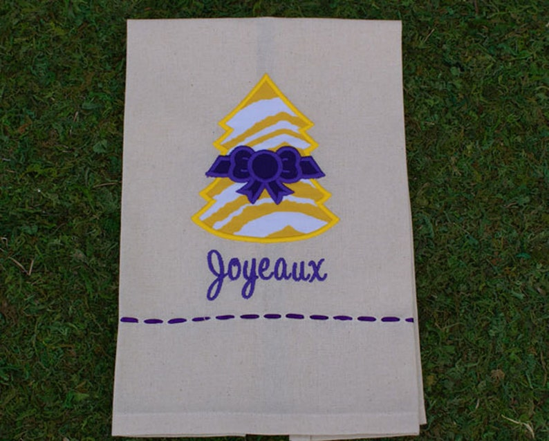 Joyeaux Christmas Tree Tea Towel Purple/Yellow Christmas Tree image 0