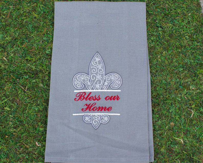 Fleur de Lis Bless Our Home Embroidery Tea Towel image 0