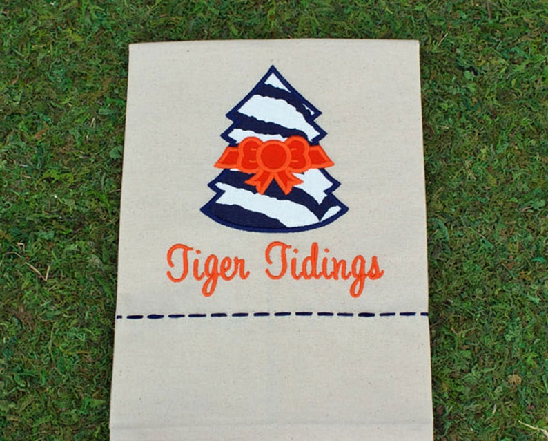 Tiger Tidings Christmas Tree Tea Towel Orange / Blue image 0