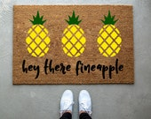 Pineapple doormat, Hey there fineapple mat, home decor, personalized doormat, welcome mat, front door mat, front doormat, porch doormat