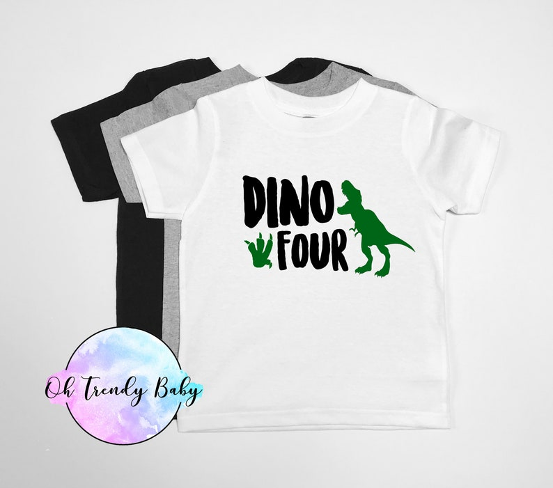Dino Four Birthday Shirt Dinosaur