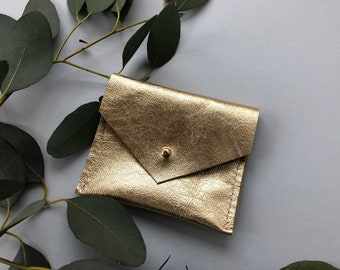 Personalised Gold Leather Square Business Card Holder or Personalised Jewellery Pouch