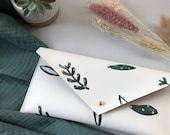 Large Purse - Green Botanical. Handmade recycled leather white pouch, clutch bag, wallet, pencil case, sunglasses. Hand painted in Cornwall