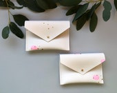 Recycled Leather Purse - Pink Gold. Handmade eco-friendly pouch hand painted in Cornwall, recycled leather wallet in white, gold and pink.