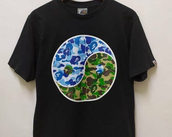 cf3e4c775984 Bape Tee A bathing ape Yin Yang Green on Blue Black M medium 2000 Camo  Japan T Shirt
