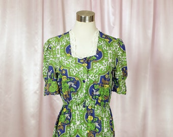 Green 60s Floral Midi Day Dress with Lace detail and Button Front Retro