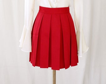 427f61ed2e Red 70s Style Pleat Cheer Skirt