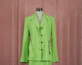 Lime Green Polka 90 39 s Dress with Matching Coat 70s style Safari