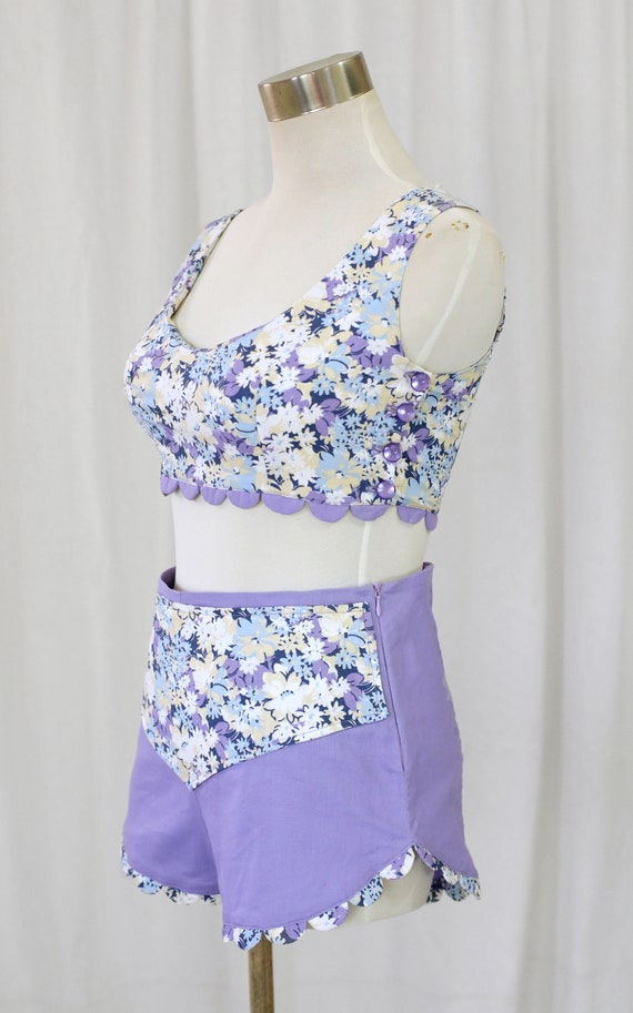 60s Handmade Vintage Purple and  Floral Print two… - image 6
