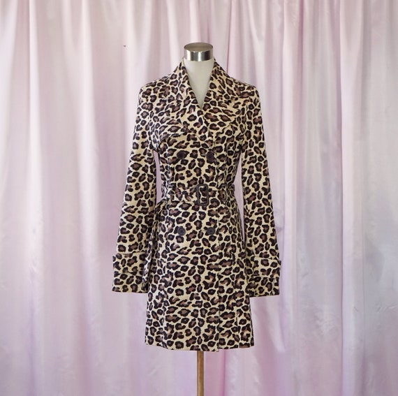 90s Cheater Print Trench Style Mid Length Coat Ani
