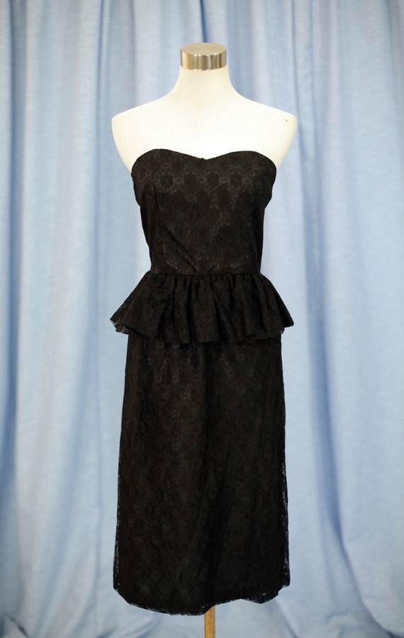 Vintage 60s Black Lace Mini Dress with Frill Skirt
