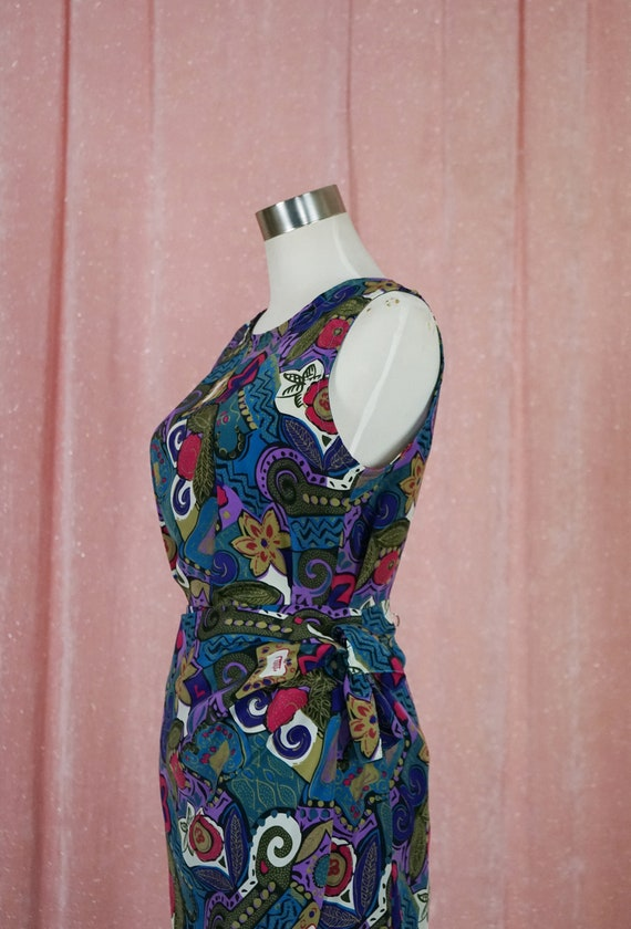 90s Floral and Geometric Pattern Top and Matching… - image 4