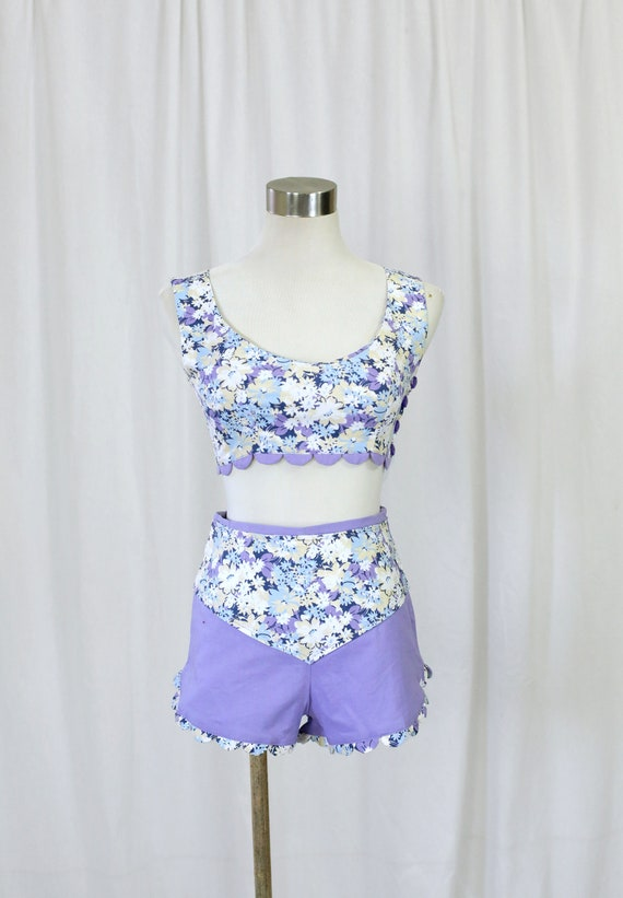 60s Handmade Vintage Purple and  Floral Print two